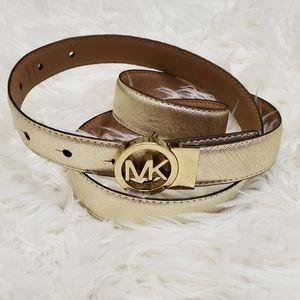 Michael Kors XL Gold & Tan Reversable Leather Belt